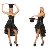 The composite photo of woman doing tricks Stock Image