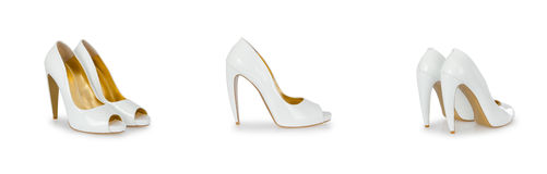 Composite photo of woman shoes stock photos