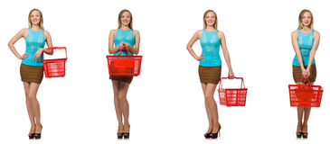 Composite photo of woman with shopping basket Royalty Free Stock Photography