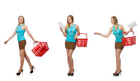 The composite photo of woman with shopping basket Royalty Free Stock Photography