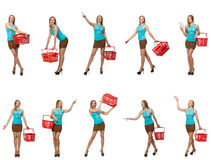 The composite photo of woman with shopping basket Stock Photo