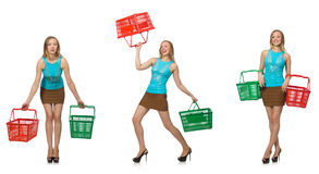 The composite photo of woman with shopping basket Royalty Free Stock Photo