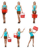 The composite photo of woman with shopping basket Royalty Free Stock Photos