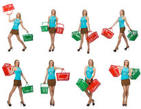 The composite photo of woman with shopping basket Stock Photography