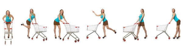 The composite photo of woman with shopping basket Royalty Free Stock Images