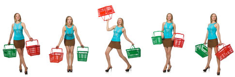 The composite photo of woman with shopping basket Stock Photos