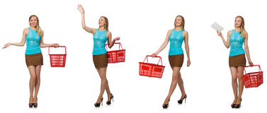 The composite photo of woman with shopping basket Stock Images