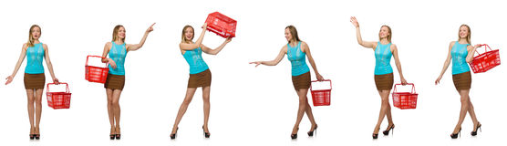 The composite photo of woman with shopping basket. Composite photo of woman with shopping basket Stock Images