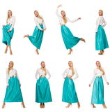 The composite photo of woman in various poses Stock Photography