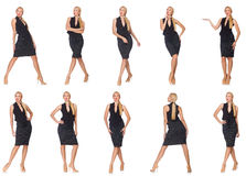 The composite photo of woman in various poses Stock Image