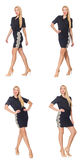 The composite photo of woman in various poses Stock Photos