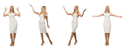 The composite photo of woman in various poses Stock Images