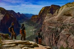 Composite photography from the top of angel`s landing in Zion, Utah on a clear bright sky day stock photo