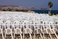 Composite plastic chairs after the show Cyprus Royalty Free Stock Photos