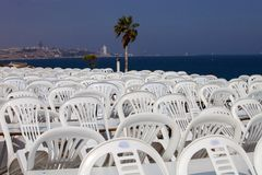 Composite plastic chairs after the show Cyprus Stock Image