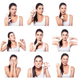 Composite of positive emotions and gestures with girl Royalty Free Stock Photography