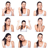 Composite of positive emotions and gestures with girl. On white Royalty Free Stock Image