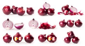 Composite with red onions isolated on white background Royalty Free Stock Photography