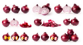 Composite with red onions isolated on white background Stock Photo