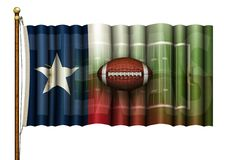 Texas Flag Merged with an American Football Field with a Football floating in Front – 3D Illustration royalty free illustration