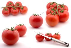Composite of tomates. Full size composite of tomatoes isolated on white, various angles, groupings and compositions Stock Image
