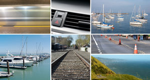 Composite of transportation and mobility images. In a grid Royalty Free Stock Photo