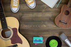 Compositeur de musique, guitare, ukulélé Image libre de droits