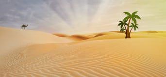 Compositing in egypt. Desert and palm stock illustration