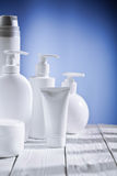 Compositio of skincare objects stock image