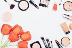 Composition étendue plate de fête des produits cosmétiques photo libre de droits