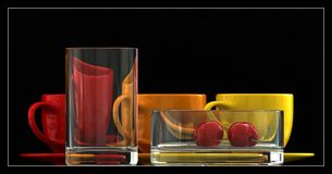 Composition. From glasses and porcelain objects Stock Image