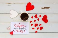 Composition aérienne de vintage de jour du ` s de St Valentine de note avec la confession d'amour Photos libres de droits