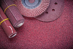 Composition of abrasive flap wheels grinding discs sandpaper rol Stock Images