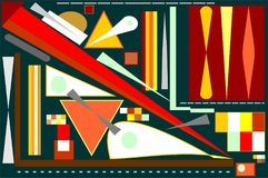 Abstract  square black background ,fancy  colorful geometric and curved shapes , expressionism art style. Composition of abstract colorful  shapes , red , yellow Stock Images