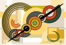 Composition of abstract colorful shapes ,stylized rings crossed by arrow on seamless background 18-59. Abstract colorful composition , fancy geometric and curved vector illustration