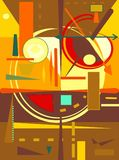 Abstract  orange  background ,fancy  geometric and curved shapes , expressionism art style. Composition of abstract colorful  shapes , yellow , green , brown, on Royalty Free Stock Photography