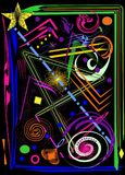 Abstract vertical black background with colorful dynamic shapes Stock Photography