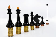 Composition abstraite des échecs et de l'argent Photos libres de droits