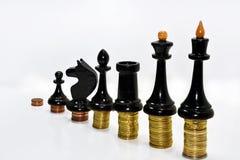 Composition abstraite des échecs et de l'argent Photo stock