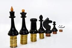 Composition abstraite des échecs et de l'argent Image stock