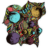 Composition abstraite en griffonnage Ornement lumineux et multicolore, dessin de main d'un grand choix d'éléments décoratifs, mot Illustration Libre de Droits