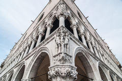 Composition of Adam and Eva on the facade of the Doge's Palace Stock Image