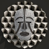 Composition with african woyo mask 3d illustrated Stock Image