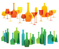 Composition with alcohol glassware silhouettes Stock Images