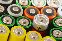 Composition with alkaline batteries. Chemical waste Stock Images