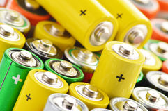 Composition with alkaline batteries Royalty Free Stock Images