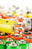 Composition with alkaline batteries. Chemical waste Stock Photo