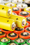 Composition with alkaline batteries. Chemical waste Stock Photography