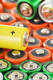 Composition with alkaline batteries. Chemical waste Royalty Free Stock Image