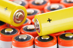 Composition with alkaline batteries. Chemical waste Royalty Free Stock Images